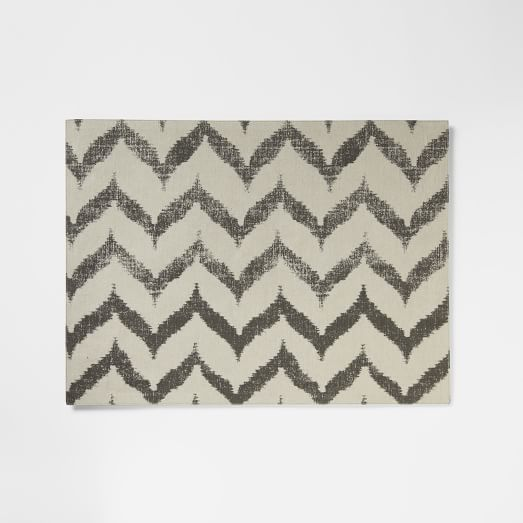 Ikat Zig Zag Printed Placemat, Slate, Set of 2