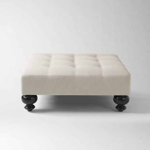 Essex Upholstered Ottoman, Solid Flax