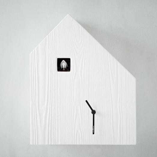 Birdie Cuckoo Clock, Wood Grain House, White