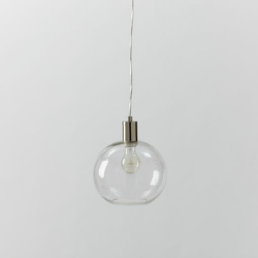 Seeded Glass Shade, Clear Bubble Glass, 9In