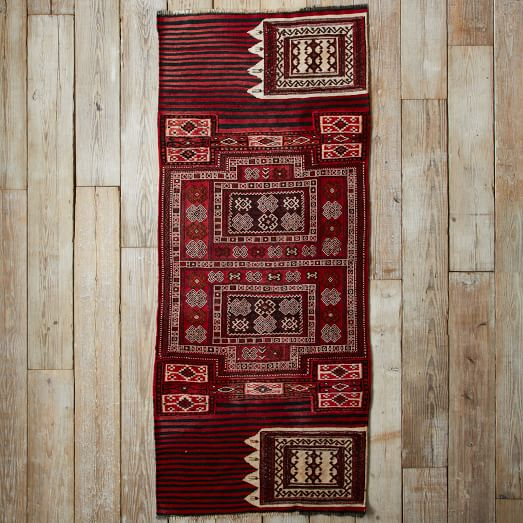 Assorted Turkish Rugs - Red/Black/Ivory Patterned, 8x3.5
