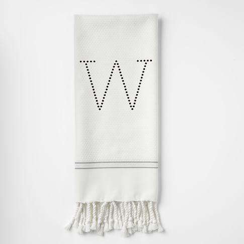 Metallic Stripe Hand Towel-Digital Print Option, Stone White/Feather Gray