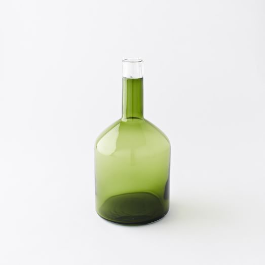 Green Glass Bottle Collection, Evergreen Transparent, Wide Bottle