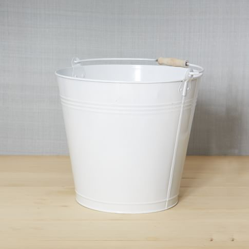 Metal Mop Bucket, White, Large