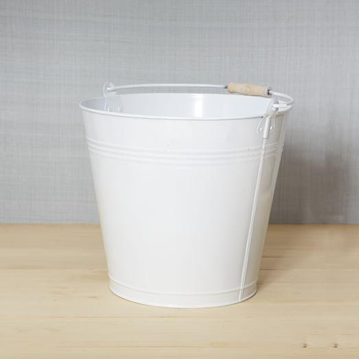 Metal Mop Bucket, White, Large