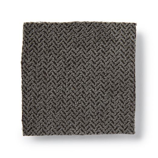 Upholstery Fabric by the Yard, Herringbone Faux Suede, Charcoal