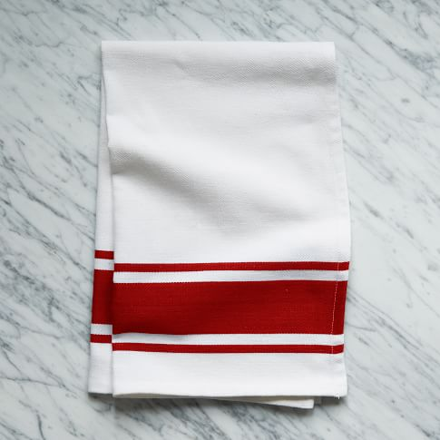 Square Dye Stripe Kitchen Towel, Red