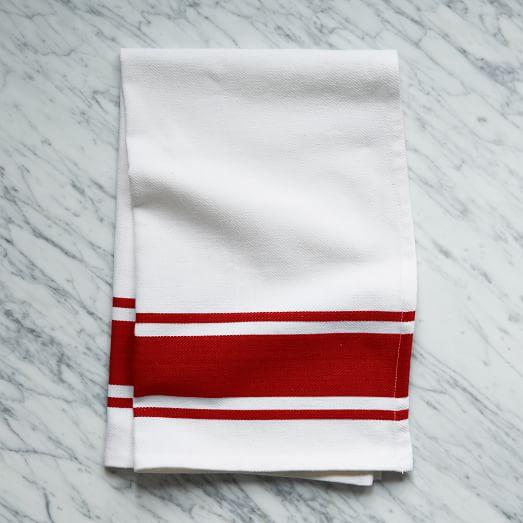 Square Dye Stripe Kitchen Towel, Red