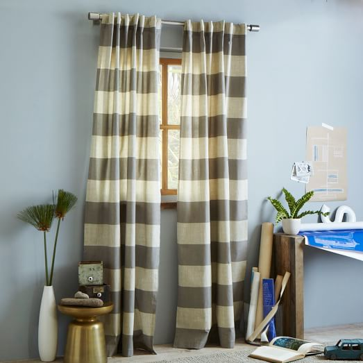 Cotton Canvas Bold Stripe Window Panel, 48