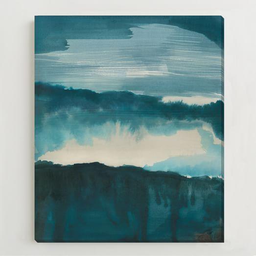 Framed Print, Blue Watercolor Landscape
