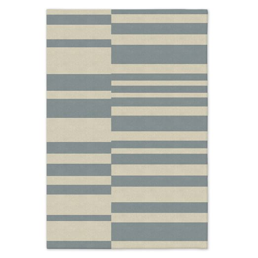 Custom Offset Stripe Dhurrie, Blue Sage, 12'x18'