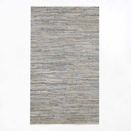 Recycled Denim Jute Rug, 5'x8', Denim Blue