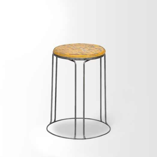 Wire Base Stool, Yellow, Set of 2
