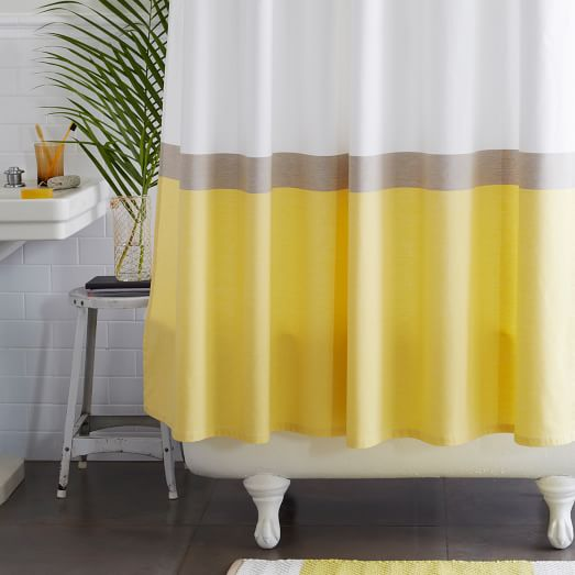 Horizon Stripe Shower Curtain, Citron