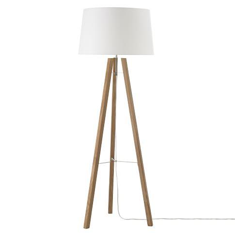 Tripod Wood Floor Lamp Natural/White