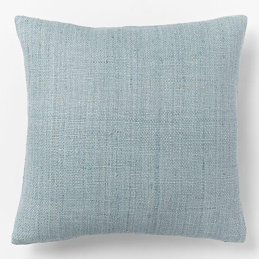 Silk Handloomed Pillow Cover, 20'x20', Light Pool