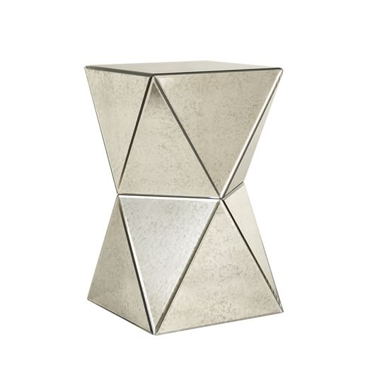 Faceted Foxed Mirror Side Table