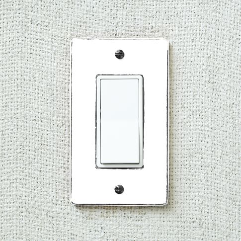 Enamel Flip Switch Cover, Flat, White/Antique