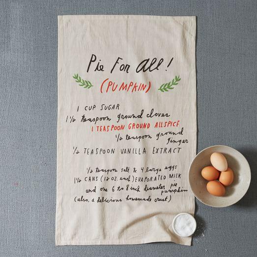 Shanna Murray Pie Recipe Tea Towel, Platinum/Flax, 17