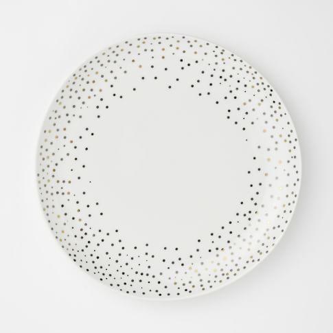 Kamal Snow Salad Plate, Set of 4, Gold/Platinum