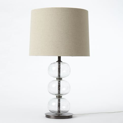 Abacus Lamp, Clear Glass/Natural Linen - CFL