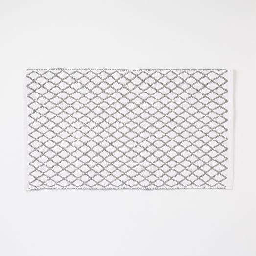 Diamond Flat Weave Bath Mat, Feather Gray