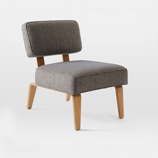 Bentwood Slipper Chair, Chenille Tweed, Slate