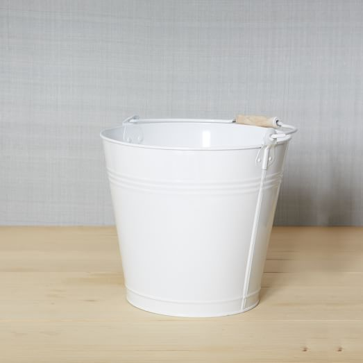 Metal Mop Bucket, White, Medium