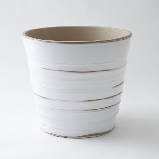 Cloud Planter, Large, Gray/White Glaze