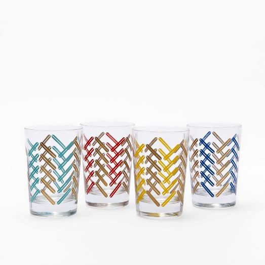 Chevron Print Juice Glasses, Set of 4