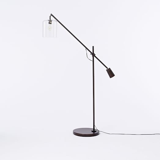 Adjustable Glass Floor Lamp, CFL