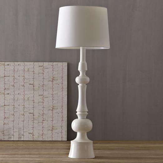 Turned Floor Lamp, White/White