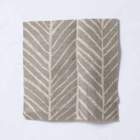 Upholstery Fabric by the Yard, Herringbone Print, Platinum