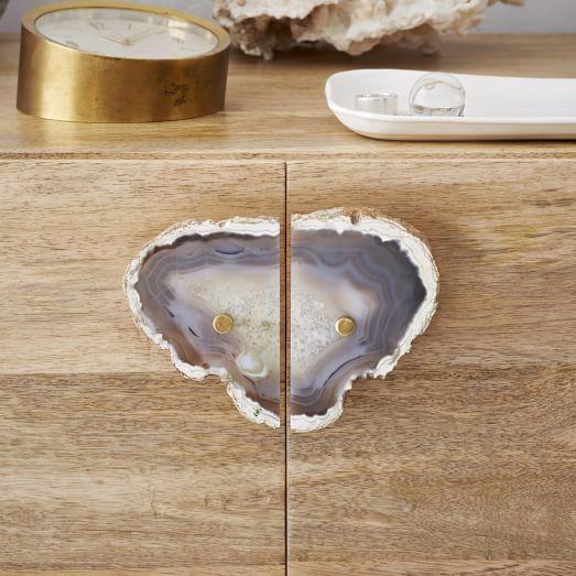 Agate + Brass Cabinet Pull, Dark Gray
