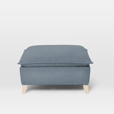 Bliss Ottoman, Performance Velvet, Steel Blue