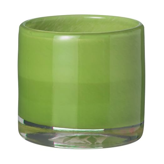 Glass Candle Holder, Dark Green