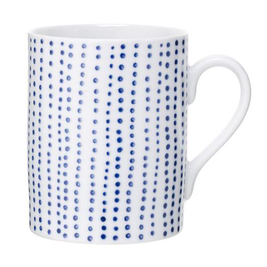 Handpainted Dot Dinnerware, Set of 4, Mug, Blue