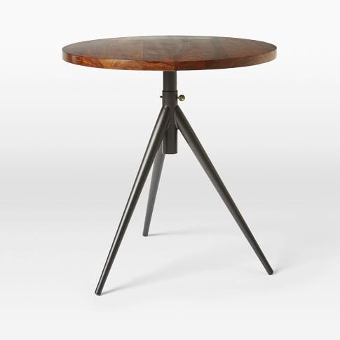 Round Adjustable Bistro Table, Sheesham, Antique Brass