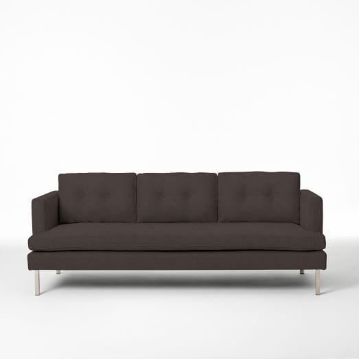 "Jackson 89.5"" Sofa, Basketweave, Iron"