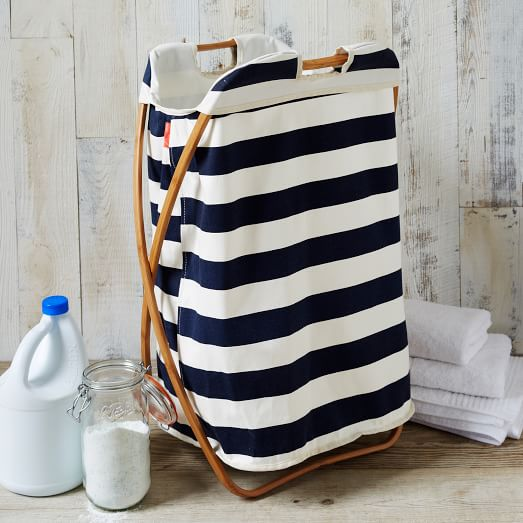 Hanam Stripe Single Hamper - White/Navy