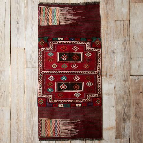 Assorted Turkish Rugs - Orange/Teal Pattern, 7x3.5