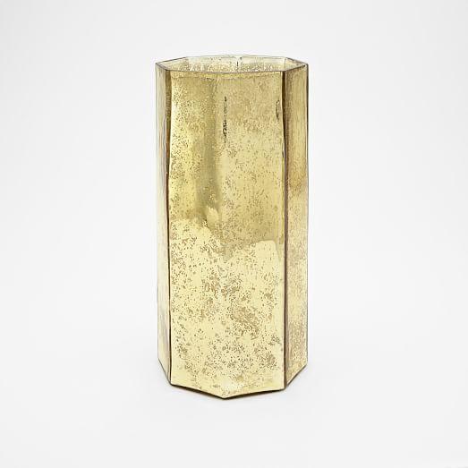 Mercury Glass Octagonal Hurricane, Large, Gold