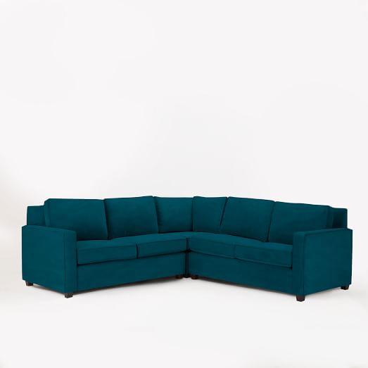 Henry Sectional, Set 1- (Corner, One-Arm Sofa (Right), One-Arm Sofa (Left)), Velvet, Lagoon