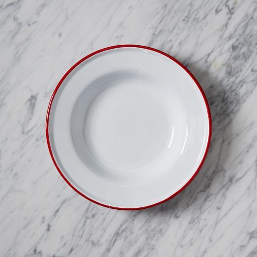 Enamel Dinnerware, Red, Salad Plates, Set of 4