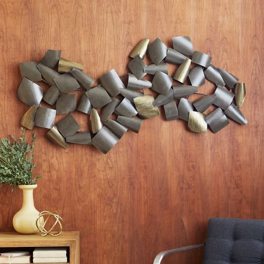 Curved Metal Wall Art, Coated Iron