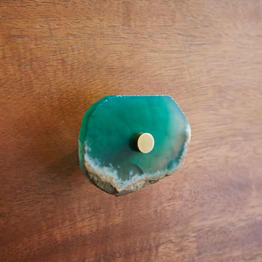 Agate + Brass Knob, Green
