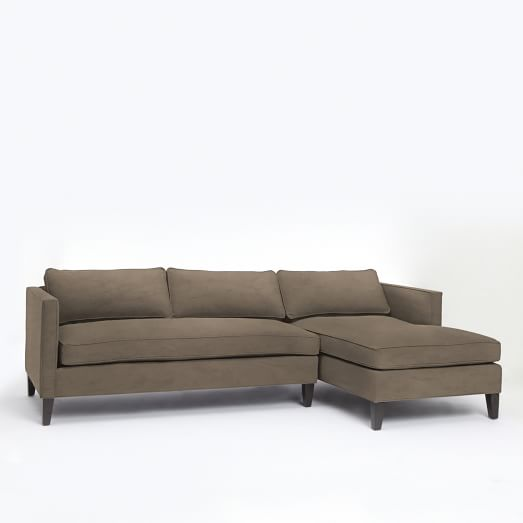 Dunham down filled 2 piece chaise sectional box cushion for Brighton taupe 3 piece chaise and sofa set
