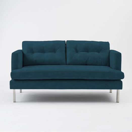 "Jackson 66"" Loveseat, Performance Velvet, Lagoon"