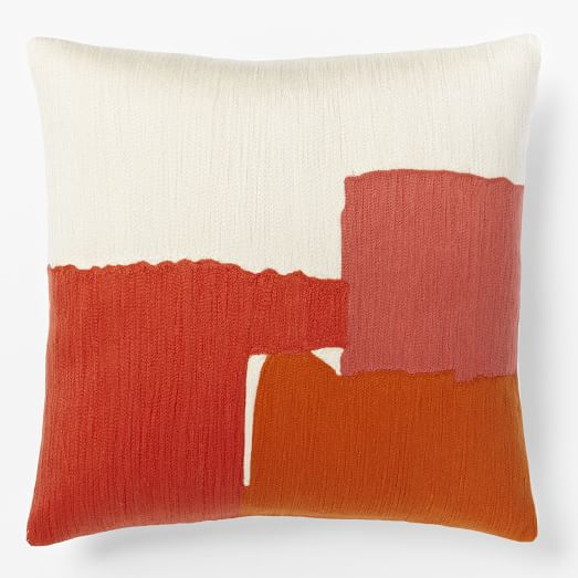 Steven Alan Abstract Crewel Pillow Case, Deep Coral
