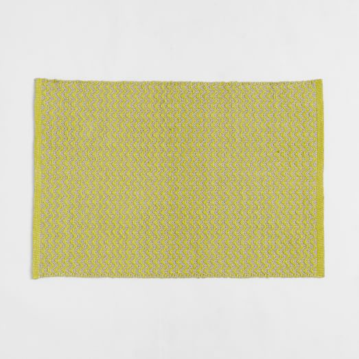 Skinny-Mini Chevron Jute Rug, 2'x3', Sun Yellow